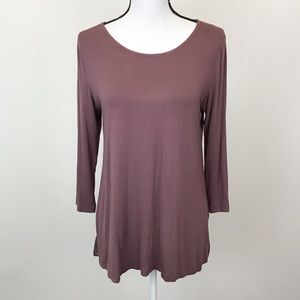 LOGO Lori Goldstein Dark Purple Blouse